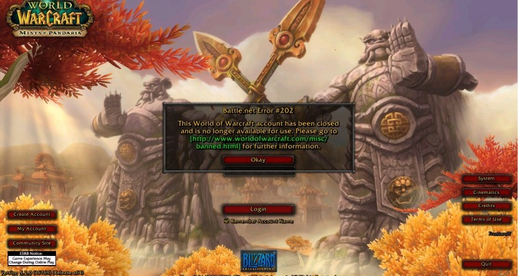 World of Warcraft Oyunundan Banlanmak