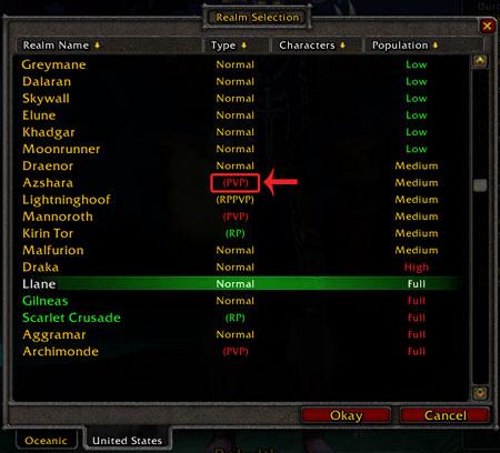World of Warcraft Sunucu Seçimi